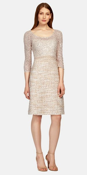 Kay Unger mixed media fit & flare dress in gold multi - Luminous sequins radiate from the gauzy leotard-like...