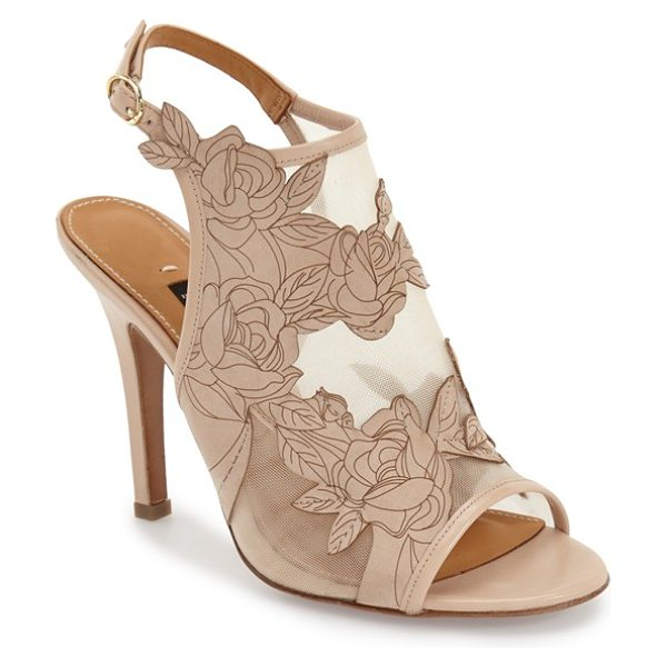 Kay Unger nadina mesh slingback sandal in beige leather/ mesh - Floral-embroidered suede and sheer mesh beautifully...
