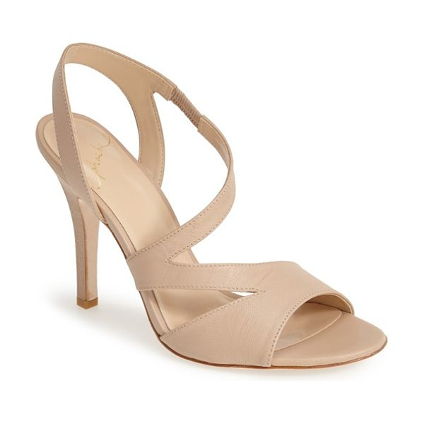 Kay Unger phoebe collection in nude - Asymmetrical straps add interest to elegant city sandals...