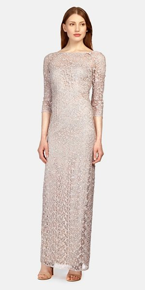 Kay Unger sequin lace colum gown in bisque - Luminous sequins radiate from the metallic stitching of...