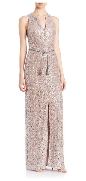 KAY UNGER Sequined lace belted gown - Sequined column gown with tie waistSplit...