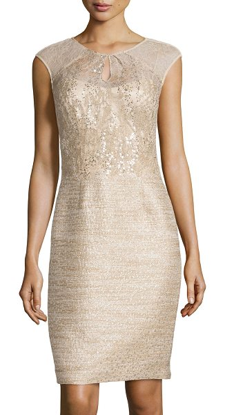 Kay Unger Sequined tweed cocktail dress in caramel multi - Kay Unger New York tweed cocktail dress with sheer lace...