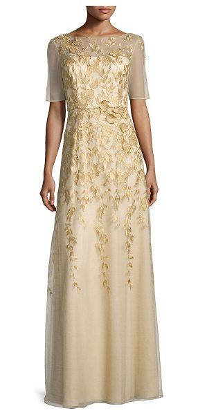 Kay Unger Short-Sleeve Floral-Embroidered Chiffon Gown in gold - Kay Unger New York chiffon gown with floral embroidery...