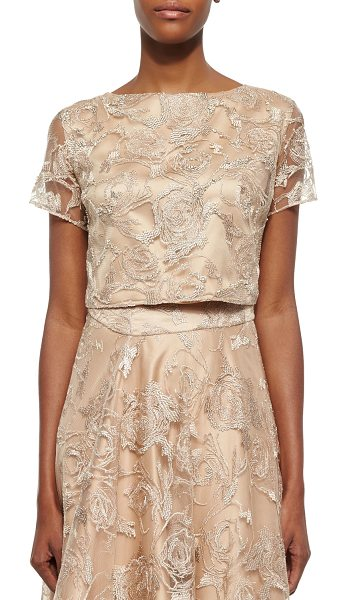 Kay Unger Short-Sleeve Lace Cropped Top in tan - Kay Unger New York lace top with tonal underlay. Approx....