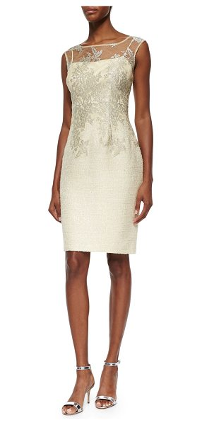 Kay Unger Sleeveless lace tweed dress in butter - Kay Unger New York tweed dress with lace overlay....