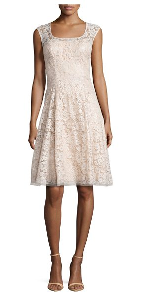 Kay Unger Sleeveless Swing Dress with Lace Overlay in bisque - Kay Unger New York party dress in lace and organza....