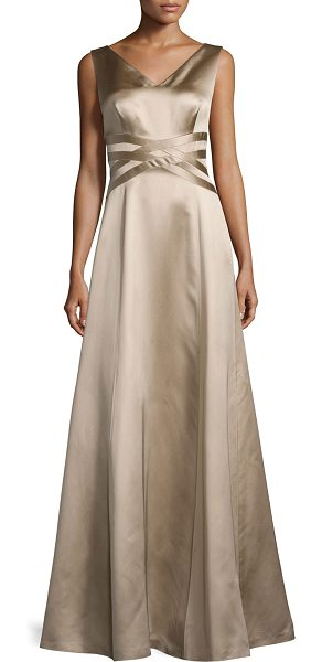 Kay Unger Sleeveless V-Neck Satin Gown in mocha - Kay Unger New York satin gown features woven band detail...