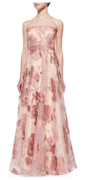 Kay Unger Strapless lace ball gown in copper - Kay Unger New York lace organza ball gown. Approx....