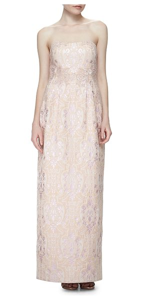 Kay Unger Strapless Sequined Jacquard Column Gown in pink multi - Kay Unger New York medallion-patterned jacquard gown...