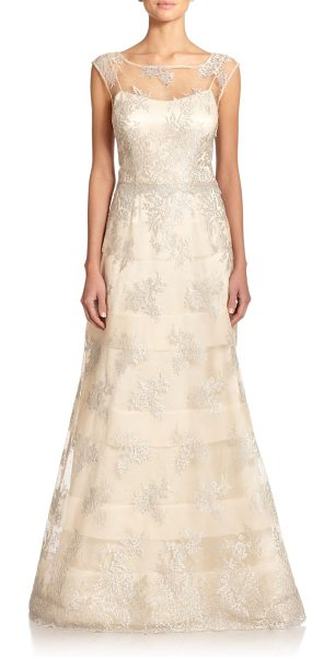 KAY UNGER Striped lace illusion gown - This semi-sheer, illusion evening gown is positively...