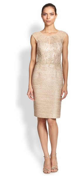 Kay Unger Tweed combo sheath dress in caramel - A delicate lace illusion bodice transforms this tailored...