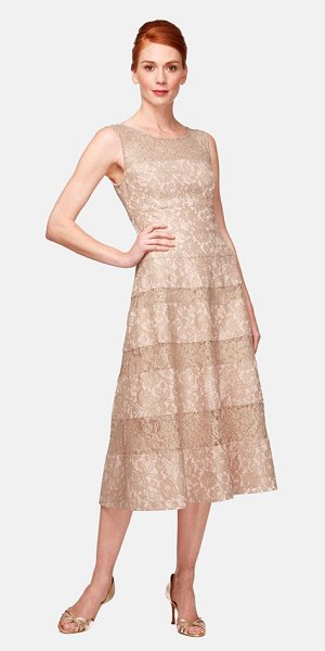 KAY UNGER lace midi dress - A detailed bonded-lace dress gains some high-tea swank...