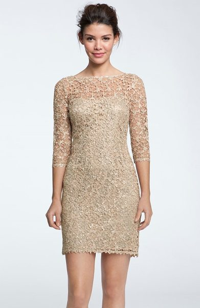 Kay Unger sequin & lace sheath dress in bisque - Luminous sequins radiate from the metallic stitching of...