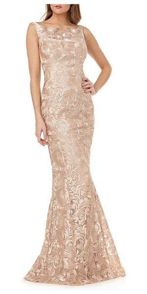 Kay Unger sleeveless metallic embroidery mermaid gown in beige