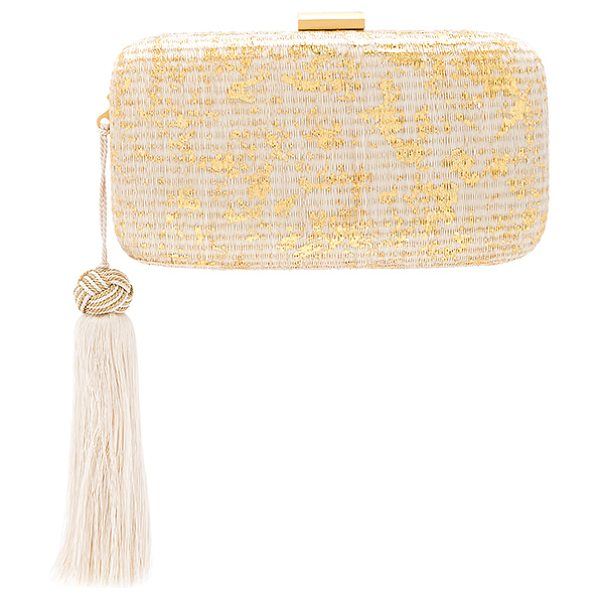"Kayu Charlotte Clutch in metallic gold - ""Woven straw exterior with microfiber lining. Top clasp..."
