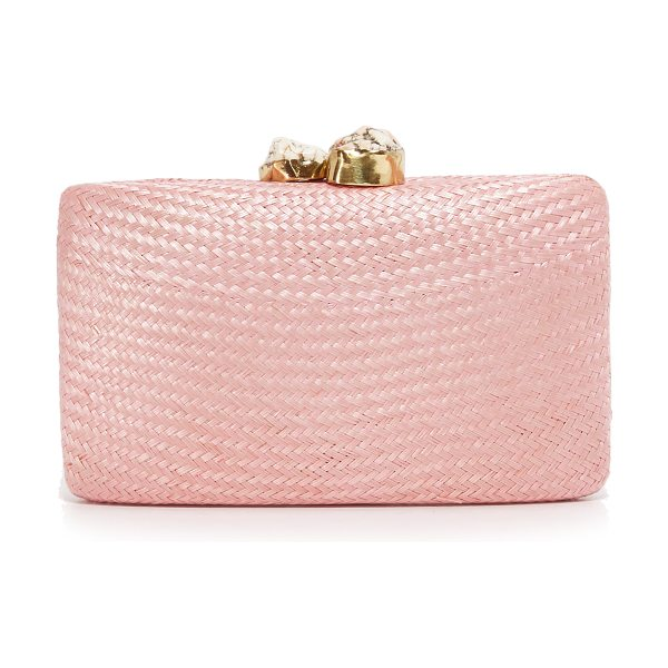 Kayu Jen clutch in pink/white - A hardshell Kayu clutch, covered with woven straw. 2...
