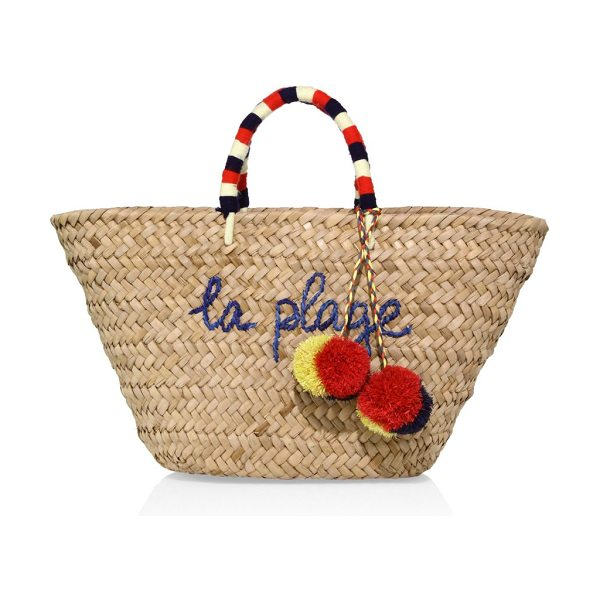 Kayu la plage tote in natural - Straw tote with yarn handles and raffia pom-poms. Double...
