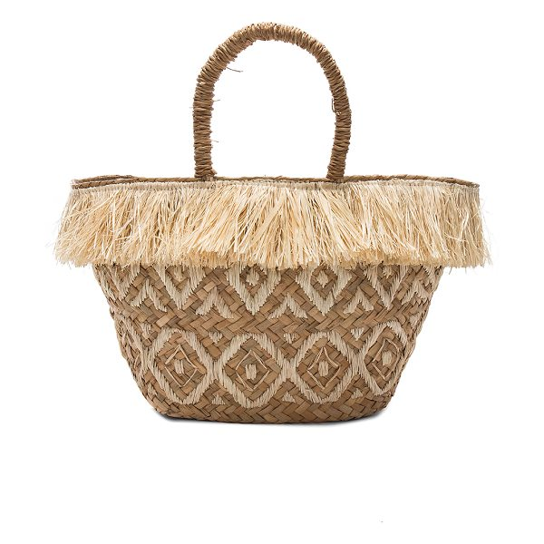 "Kayu Lilian Tote in beige - ""Woven straw exterior with fabric lining. Drawstring top..."