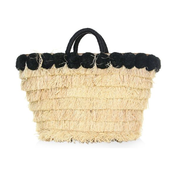 Kayu lucca straw tote bag in natural - Straw tote bag with contrast raffia pom trim. Double top...