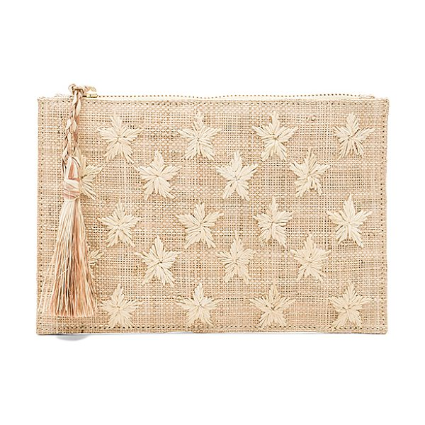 "Kayu Star Pouch in beige - ""Woven straw exterior with canvas fabric lining. Top zip..."