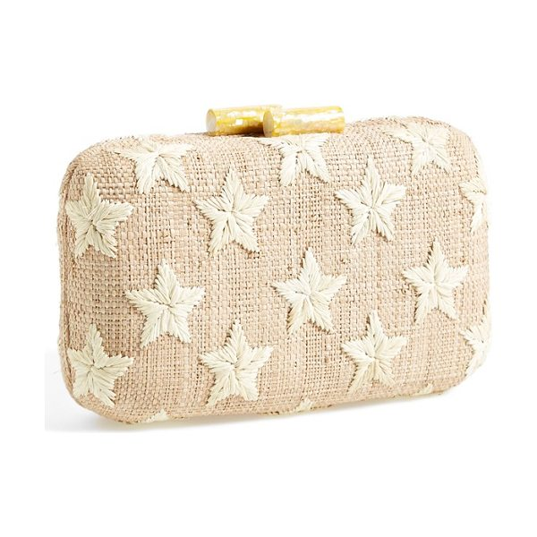 Kayu Star straw clutch in natural - Embroidered stars take center stage on a handwoven straw...