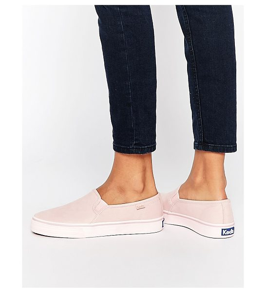 KEDS Double Decker Washed Leather Pale Pink Slip On Sneakers - Sneakers by Keds, Real leather upper, Round toe, Stitch...