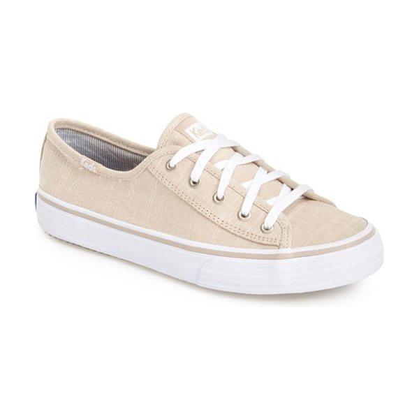 Keds double up in natural - A soft linen upper tops an easy sneaker featuring Keds'...
