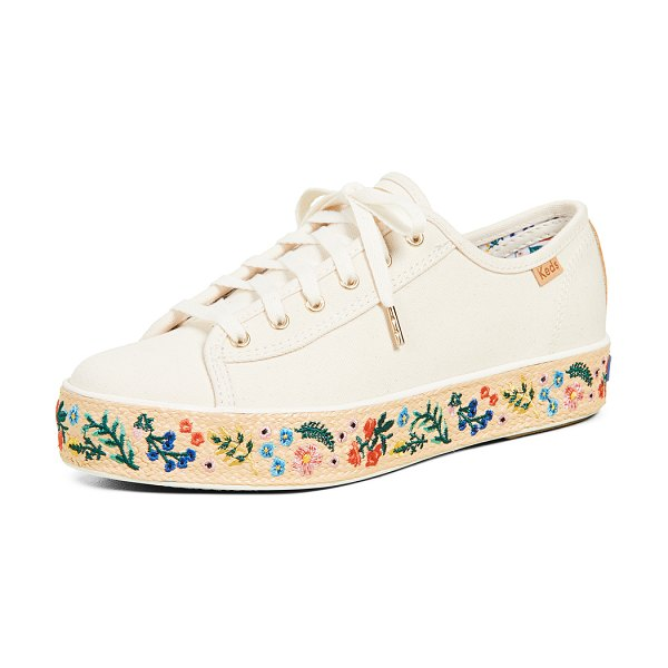 Keds x rifle paper co triple kick espadrille sneakers in natural - Fabric: Canvas Embroidered Low tops Flat profile Lace-up...