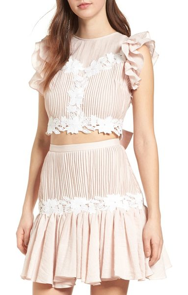 Keepsake all mine crop top in shell - The combination of slim pleats, floral embroidery and...