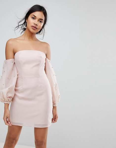 Keepsake bardot beaded mini dress in blush