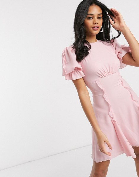 Keepsake beloved puff sleeve mini dress in blush-pink in pink