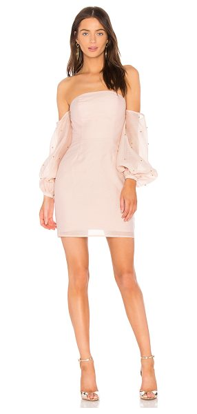 "Keepsake Call Me Off the Shoulder Dress in blush - ""Self & Lining: 100% poly. Hand wash cold. Fully lined...."