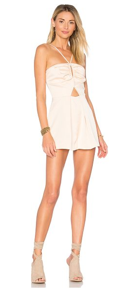 "Keepsake Chandelier Romper in peach - ""Self & Lining: 100% poly. Hand wash cold. Adjustable..."