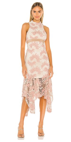 Keepsake no air lace midi dress in blush