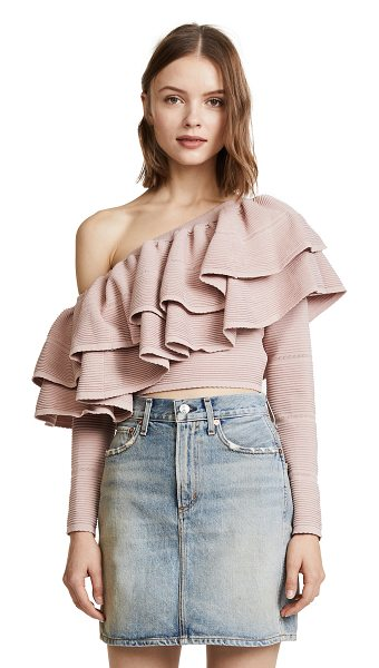 KEEPSAKE over time knit top - Layered, flounced ruffles trim the single-shoulder...