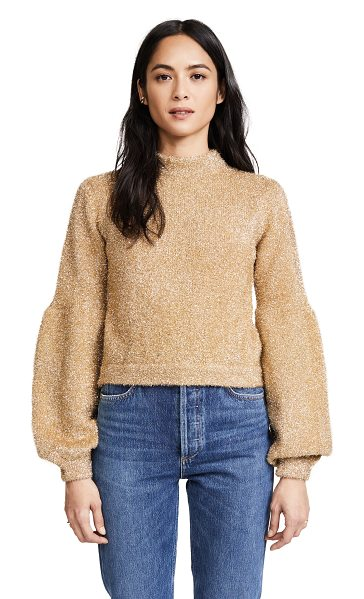 Keepsake restless knit pullover in gold - Eye-catching metallic threads lend a shimmering finish...