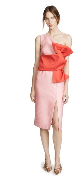 KEEPSAKE retrograde midi dress in pink/red - Fabric: Lustrous twill suiting Contrast overlay Nonslip...
