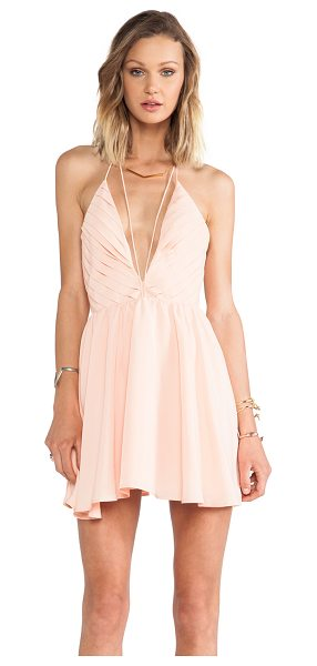 Keepsake Riptide dress in peach - Poly blend. Fully lined. Pleated bodice detail. Hidden...