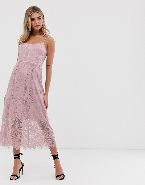Keepsake sense lace midi dress with corset detail-pink in pink