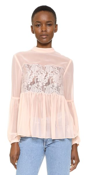 Keepsake sundream lace top in shell - A scalloped organza panel with delicate embroidery lends...