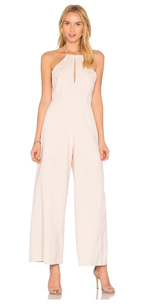 "Keepsake Sweet Dreams Jumpsuit in blush - ""Self & Lining: 100% poly. Hand wash cold. Halter strap..."