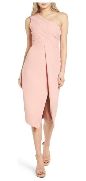 Keepsake lights out asymmetrical midi dress in peony - Turn heads in this sophisticated, sculptural midi dress...