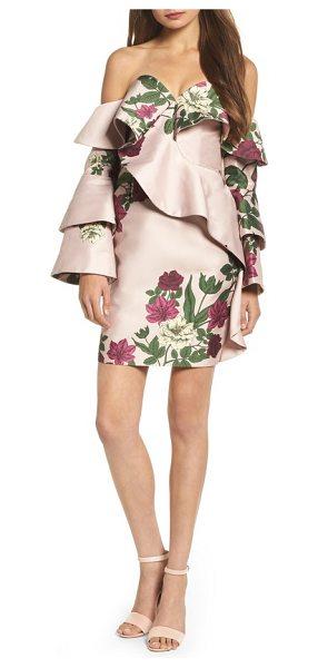 Keepsake night lights off the shoulder minidress in blush floral - Tailored with structured flounce, this floral-print...