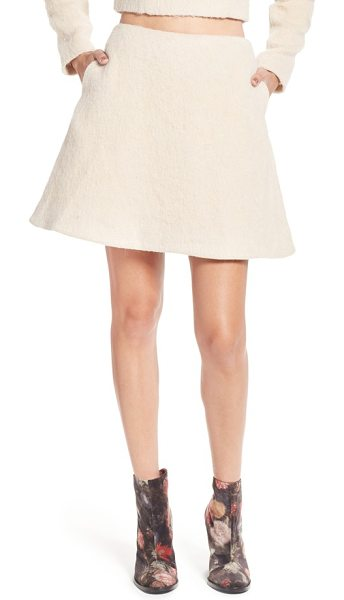 Keepsake searchlight fuzzy a-line miniskirt in soft peach - Fuzzy texture adds cool-weather whimsy to a flouncy...