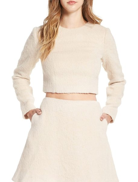 Keepsake searchlight long sleeve crop top in soft peach - Long sleeves and a cozy, woolly texture transition this...