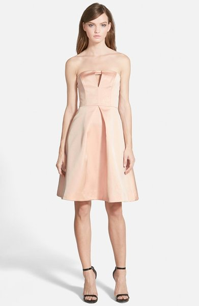 Keepsake to the point strapless fit & flare dress in shell - A slight keyhole opening offers a subtle flash of skin...