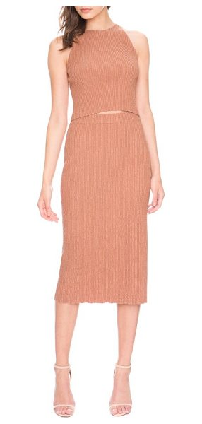 Keepsake what if knit midi skirt in rose - A stretchy, ribbed knit creates a curve-hugging fit in a...