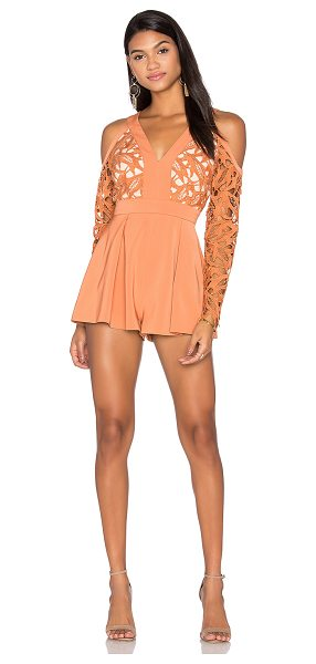 Keepsake The Moment Lace Romper in terracotta - Self & Lining: 100% poly. Hand wash cold. Open...