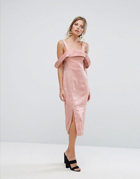 KEEPSAKE Too Late Midi Dress in blush - Midi dress by Keepsake, Smooth woven fabric, Square...