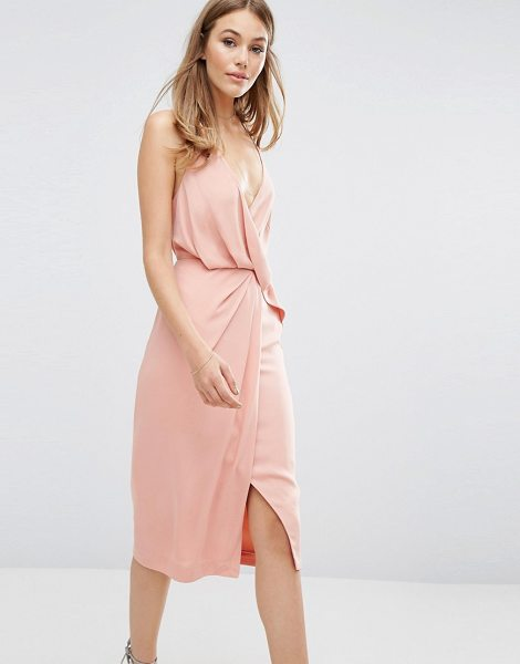 Keepsake Without You Dress in pink - Midi dress by Keepsake, Lined woven fabric, Wrap front,...
